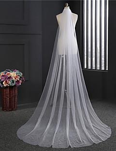 baratos Véus de Noiva-Uma Camada Clássico Véus de Noiva Véu Capela Com Franja Tule