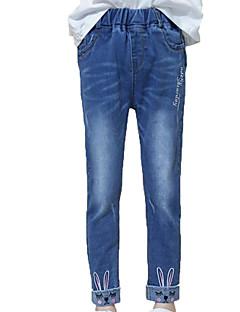 billige Bukser og leggings til piger-Pige Jeans Daglig Ensfarvet Trykt mønster, Bomuld Polyester Forår Efterår Uden ærmer Simple Afslappet Blå
