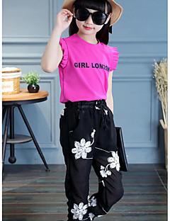 billige Tøjsæt til piger-Pige Daglig Blomstret Tøjsæt, Rayon Polyester Sommer Uden ærmer Aktiv Hvid Rosa
