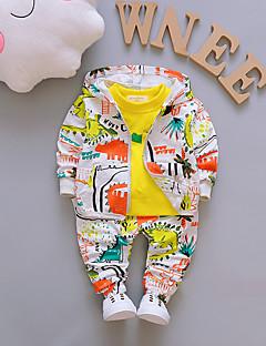 billige Tøjsæt til drenge-Unisex Daglig I-byen-tøj Ensfarvet Trykt mønster Jacquard Vævning Tøjsæt, Bomuld Forår Efterår Langærmet Sødt Basale Grøn Orange Gul