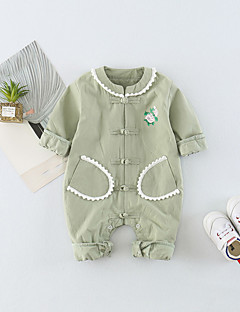 billige Babytøj-Baby Unisex En del Daglig Ensfarvet Trykt mønster, Bomuld Forår Sommer Halvlange ærmer Sødt Aktiv Lyserød Lysegrøn