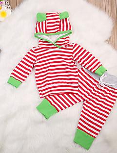 billige Sett med babyklær-Baby Unisex Tøjsæt Daglig Stribet, Bomuld Forår Sommer Langærmet Sødt Aktiv Rød