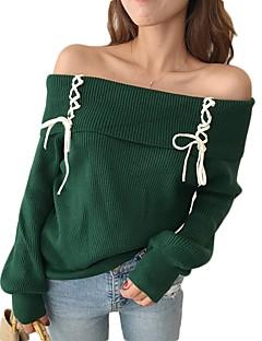 tanie Swetry damskie-Damskie Z odsłoniętymi ramionami Pulower - Sukienka prosta, Jendolity kolor Długi rękaw
