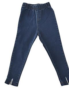 billige Bukser og leggings til piger-Pige Jeans Daglig Ensfarvet, Bomuld Polyester Efterår Simple Lyseblå Marineblå