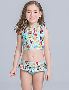 billige Badetøj til piger-Pige Sødt Aktiv Blomstret Badetøj, Nylon Uden ærmer Grøn Lyserød