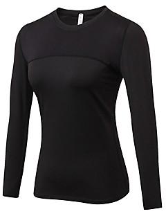 billige Løbetøj-Dame Løbe-T-shirt - Rose Rød, Blå, Rød / Hvid Sport Ensfarvet, Patchwork T-Shirt Træning & Fitness Langærmet Sportstøj Åndbarhed Elastisk