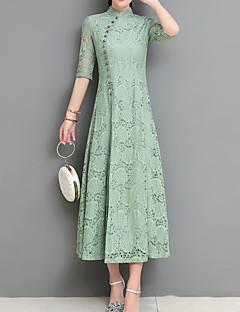 billige Vintage-dronning-Dame Ferie Vintage Kineseri Tynd Skede Kjole - Ensfarvet, Delt Trykt mønster Midi Høj krave