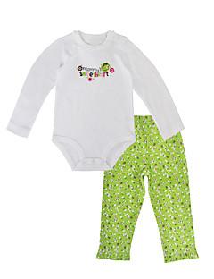 billige Sett med babyklær-Baby Pige Tøjsæt Daglig Ferie Blomstret, Bomuld Forår Efterår Langærmet Afslappet Lysegrøn