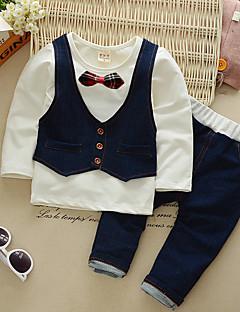 billige Tøjsæt til drenge-Drenge Tøjsæt Fest Daglig Ensfarvet Patchwork, Bomuld Forår Efterår Langærmet Simple Vintage Grøn Hvid Lyserød Gul