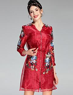 ieftine PROVERB-Pentru femei Sofisticat Zvelt Linie A Rochie - Brodat, Floral Talie Înaltă Sub Genunchi