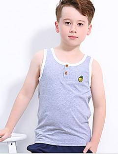 billige Overdele til drenge-Drenge Daglig Sport Geometrisk T-shirt, Bomuld Sommer Uden ærmer Aktiv Blå Grøn Gul Lysegrå