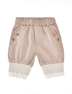 billige Bukser og leggings til piger-Pige Shorts Daglig Ferie Ensfarvet, Bomuld Polyester Sommer Halvlange ærmer Simple Kakifarvet