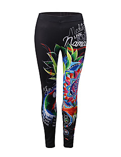 halpa Naisten housut-Naisten Perus Urheilullinen Leggingsit - Painettu, Kukka Color Block Keskivyötärö