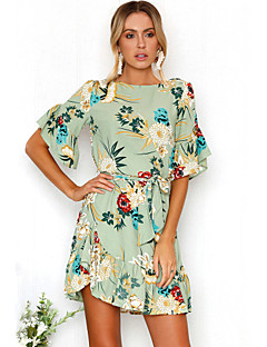 cheap Women's Dresses-Women's Beach Going out Boho Flare Sleeve Dress - Floral Ruffle Print Mini