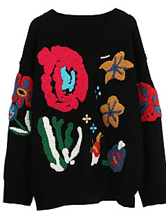 tanie Swetry damskie-Damskie Pulower Kwiaty Długi rękaw
