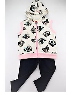 billige Tøjsæt til piger-Pige Tøjsæt Daglig Dyretryk Farveblok, Bomuld Spandex Forår Efterår Uden ærmer Afslappet Aktiv Hvid