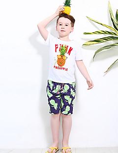 billige Tøjsæt til drenge-Drenge Tøjsæt Daglig Geometrisk, Polyester Sommer Kortærmet Aktiv Hvid