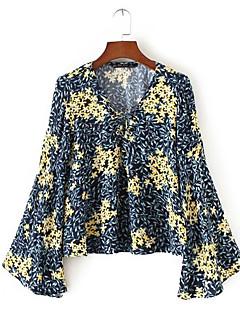 billige Bluse-V-hals Løstsiddende Dame - Blomstret I-byen-tøj Bluse