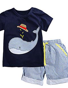 billige Tøjsæt til drenge-Drenge Tøjsæt Daglig I-byen-tøj Stribet Patchwork, Bomuld Sommer Kortærmet Afslappet Gade Blå