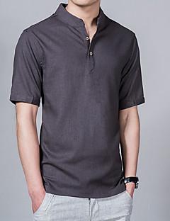 Недорогие Мужские рубашки-Муж. Рубашка Воротник-стойка Однотонный / С короткими рукавами
