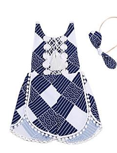 billige Pigetoppe-Unisex Bluse Daglig I-byen-tøj Prikker Stribet, Polyester Forår Sommer Uden ærmer Aktiv Boheme Navyblå Marineblå