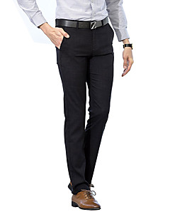 billige Herrebukser og -shorts-Herre Gatemote Store størrelser Bomull Tynn Dressbukser Chinos Bukser Ensfarget Stripet Lav Midje