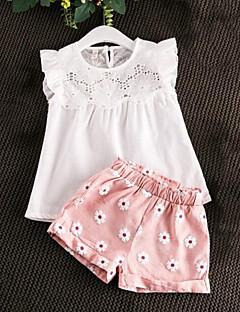 billige Tøjsæt til piger-Pige Daglig Blomstret Patchwork Tøjsæt, Rayon Sommer Uden ærmer Afslappet Lyserød