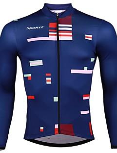 billige Sykkelklær-SPAKCT Herre Langermet Sykkeljersey - Mørkeblå Sykkel Jersey, Fort Tørring