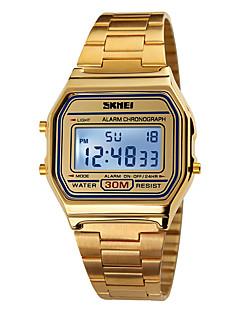 billige Rustfrit stål-SKMEI Herre Digital Digital Watch Sportsur Alarm Kalender Kronograf Vandafvisende LCD Rustfrit stål Bånd Elegant Sej Guld