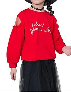 billige Hættetrøjer og sweatshirts til piger-Pige Daglig Sport Ensfarvet Trykt mønster Hættetrøje og sweatshirt, Bomuld Polyester Forår Efterår Langærmet Simple Afslappet Hvid Rød