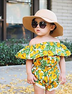billige Pigetoppe-Pige I-byen-tøj Ferie Blomstret Jacquard Vævning Bluse, Rayon Forår Sommer Kortærmet Sødt Boheme Grøn