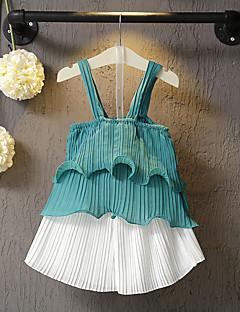 billige Tøjsæt til piger-Pige Tøjsæt Daglig Ensfarvet, Polyester Sommer Uden ærmer Simple Afslappet Grøn