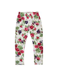 billige Bukser og leggings til piger-Pige Bukser Daglig Ferie Blomstret, Bomuld Polyester Forår Efterår Langærmet Afslappet Sort Lyserød Beige Navyblå