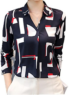 cheap Women's Tops-Women's Work Street chic Blouse - Color Block V Neck