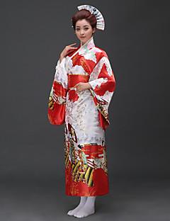 tanie Etniczne & Cultural Kostiumy-Cosplay Sukienki / Kimono Damskie Festiwal/Święto Kostiumy na Halloween Różowy / Czerwony Kwiatowy / roślinny Kimona / Tradycyjny / Classic