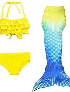 cheap Halloween & Carnival Costumes-Mermaid Tail Swimwear Men's Women's Halloween Children's Day Festival / Holiday Halloween Costumes Yellow Solid Colored Mermaid Mermaid