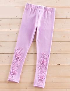 billige Bukser og leggings til piger-Pige Bukser Daglig Blomstret, Polyester Forår Simple Hvid Lyserød Lilla