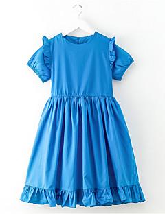billige Pigekjoler-Pige Vintage Ensfarvet Tunika Kortærmet Kjole