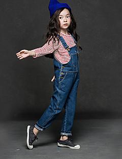 billige Bukser og leggings til piger-Pige Overall og jumpsuit Daglig Ensfarvet, Polyester Forår Simple Blå Sort Marineblå