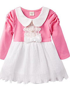 billige Babykjoler-Baby Pigens Kjole Daglig Farveblok, Polyester Forår Langærmet Basale Lyserød Navyblå