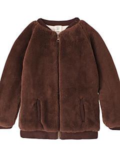 billige Babytøj-Baby Unisex Jakke og frakke Daglig Ensfarvet, Polyester Forår Langærmet Simple Brun Beige