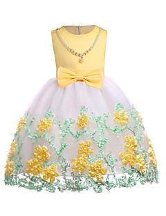 billige Pigekjoler-Pigens Kjole Daglig I-byen-tøj Ensfarvet Farveblok, Bomuld Polyester Forår Efterår Uden ærmer Simple Sødt Gul Rosa Lyseblå