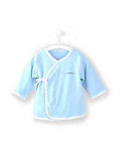 billige Babyoverdele-Baby Unisex Bluse Daglig Sport Ensfarvet, Bomuld Forår Efterår Langærmet Simple Afslappet Blå Grøn Hvid Lyserød Kakifarvet