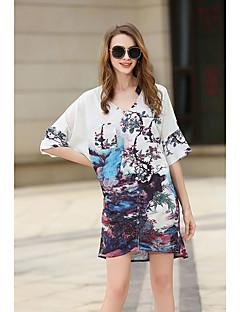 billige Skjorte-Dame Gade Skjorte - Blomstret, Åben ryg V-hals
