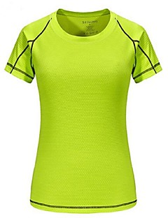 tanie Koszulki turystyczne-Damskie T-shirt turystyczny Na wolnym powietrzu Lato Lekki, Szybkie wysychanie, Oddychalność T-shirt Kemping i turystyka, Multisport, Turystyczne Fuksja Zielony Niebieski