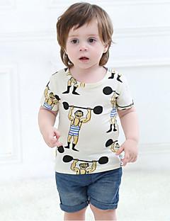 billige Overdele til drenge-Drenge T-shirt Daglig Geometrisk, Bomuld Sommer Kortærmet Afslappet Hvid