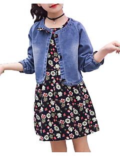 billige Tøjsæt til piger-Pige Tøjsæt Daglig Ferie Ensfarvet Blomstret, Bomuld Polyester Forår Sommer Kortærmet Langærmet Simple Aktiv Blå