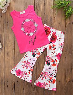 billige Tøjsæt til piger-Pige Tøjsæt Daglig I-byen-tøj Blomstret, Bomuld Polyester Sommer Uden ærmer Simple Afslappet Rosa