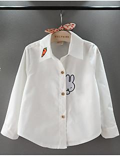 billige Pigetoppe-Pige Skjorte Daglig Skole Ensfarvet Stribet Trykt mønster, Bomuld Forår Efterår Kortærmet Langærmet Simple Afslappet Blå Hvid