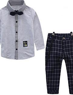 billige Tøjsæt til drenge-Drenge Tøjsæt Daglig Ensfarvet, Bomuld Polyester Forår Langærmet Sødt Blå Hvid Grå